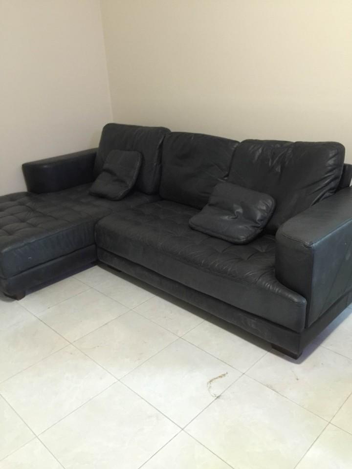 Thanh lý sofa da thật màu đen L giá rẻ