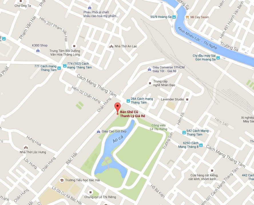 map thanh lý bàn ghế văn phòng tại tphcm