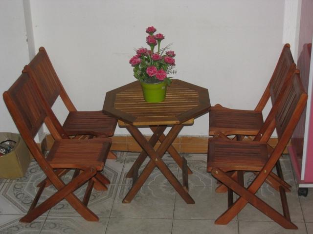 bàn ghế gỗ xếp cafe cũ