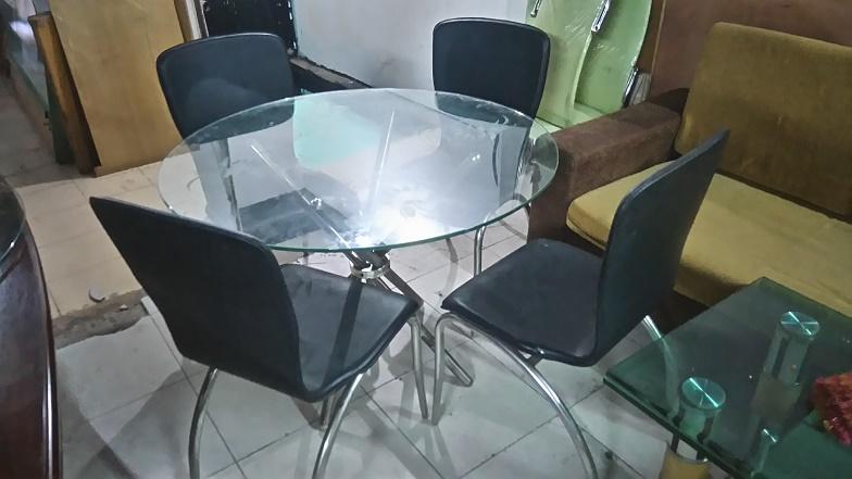 bộ bàn ăn kiếng 4 ghế cũ