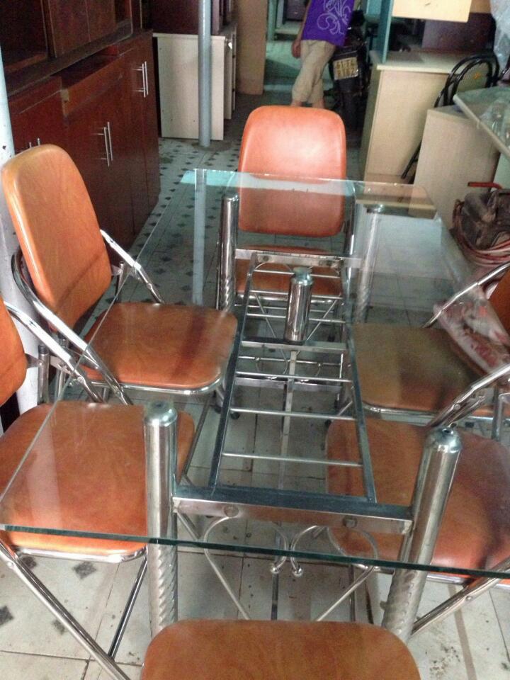 bộ bàn ăn kiếng 6 ghế cũ